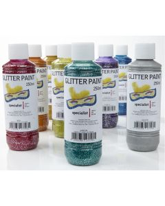 Specialist Crafts Glitter Paint - Assorted Colours. Set of 8