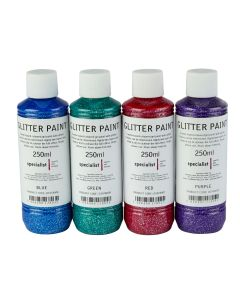 Specialist Crafts Glitter Paint - Assorted Colours. Set of 4
